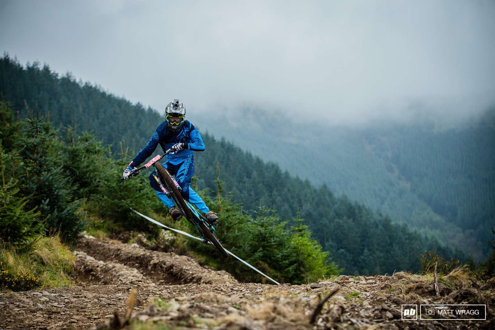 The clouds rolled around the mountains all weekend making a misty backdrop to the action.