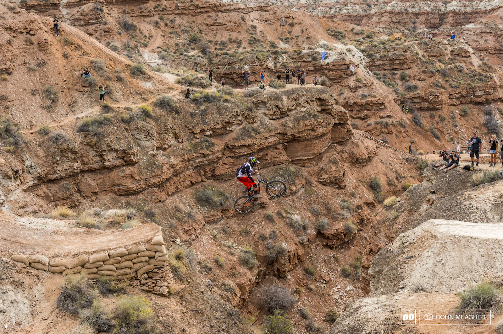 Guinea pig time on the mini canyon gap for Cam Zink. On a subsequent run in Zink slipped a pedal and fell into the canyon. Shaken but not badly injured the YT rider took it easy for the rest of the day.