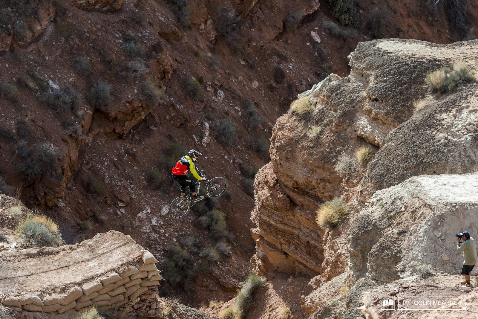 Guniea Pig runs are always nerve wracking. Kyle Strait givin er on his canyon gap.