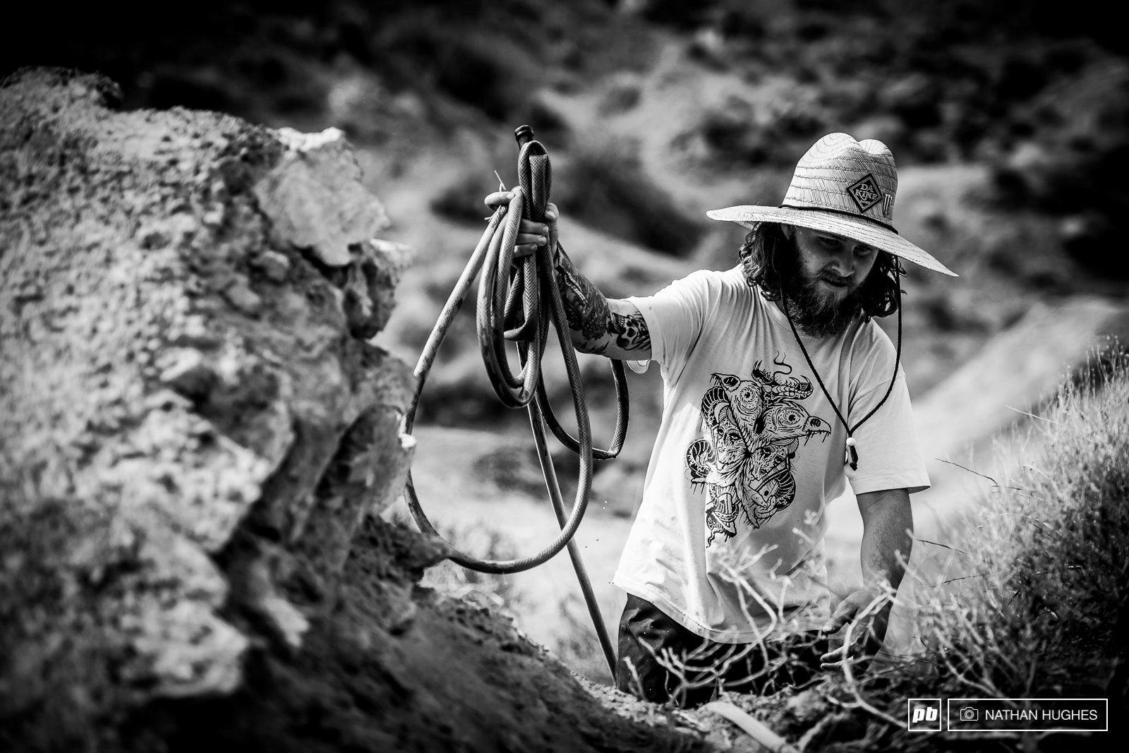 Aggy on top of his hydration nearing the end of some 10 hours digging on his line.