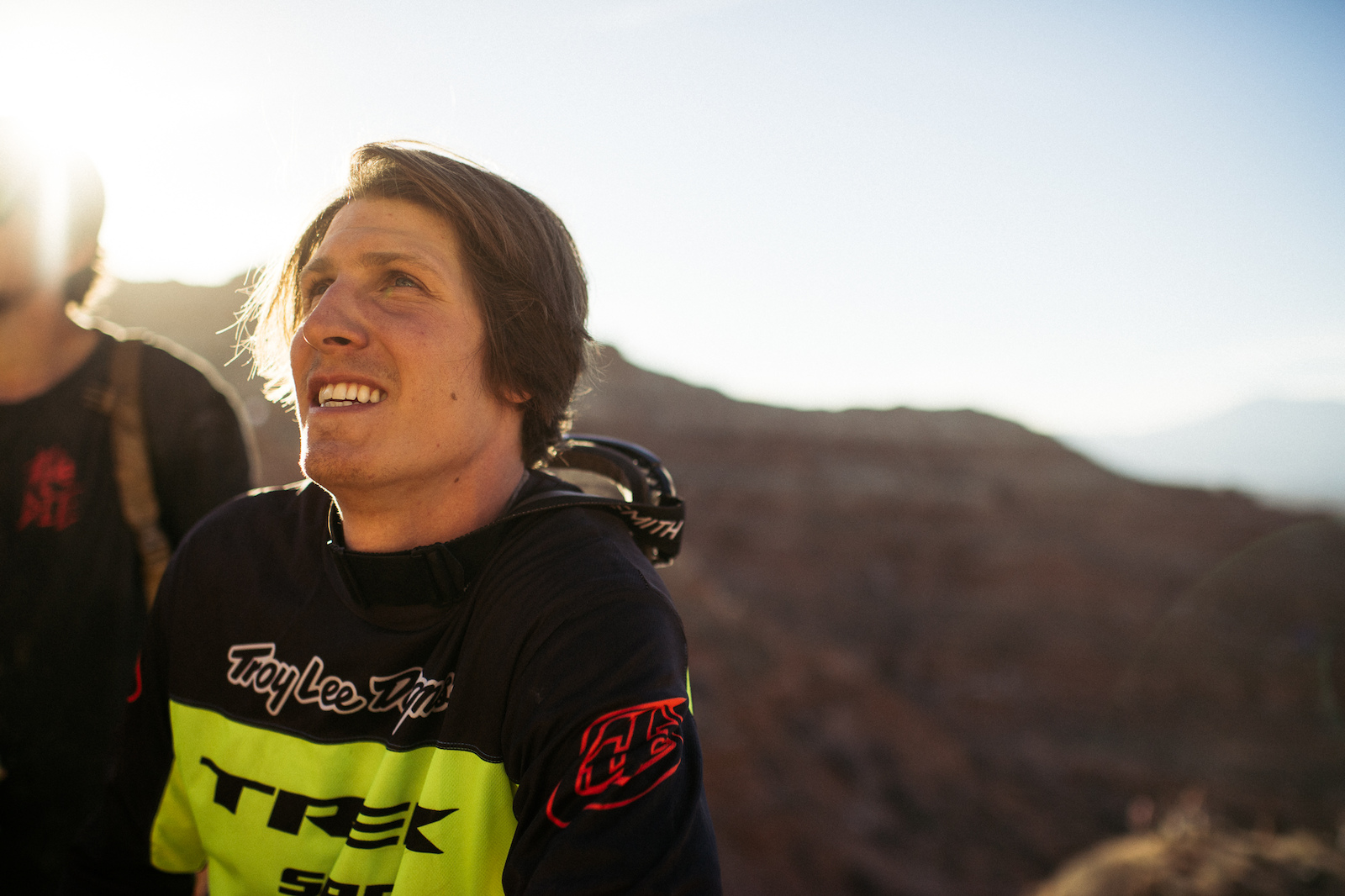 Brandon Semenuk all smiles after stomping his big drop off the ridge.