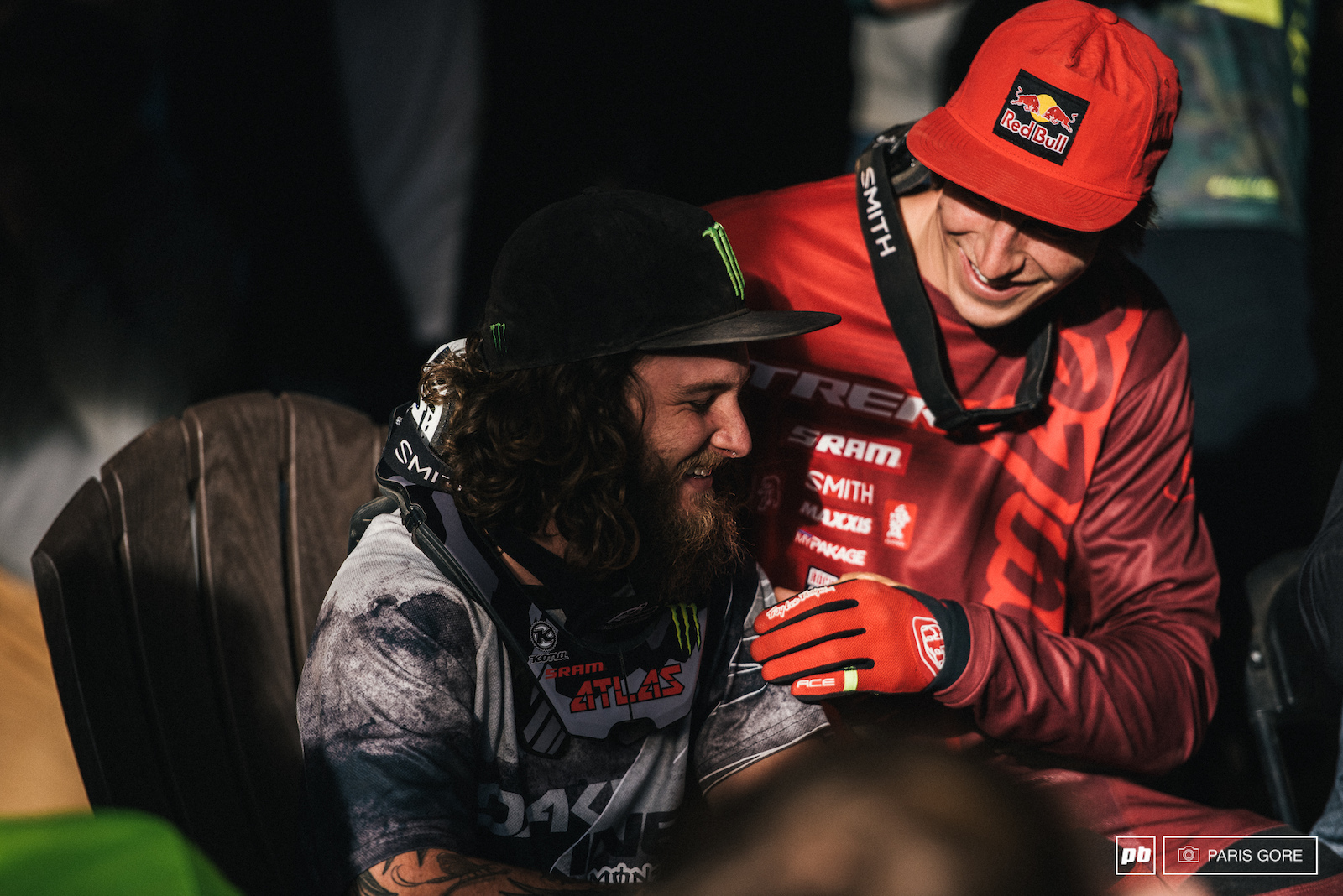 Brandon Semenuk and Aggy taking the ease off some of the days pressure.