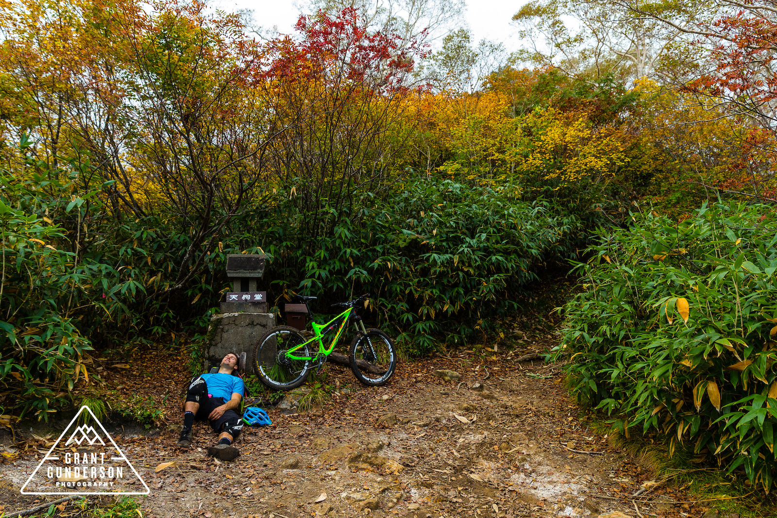 KC Deane takign a break while Mountain Biking in Myoko Japan