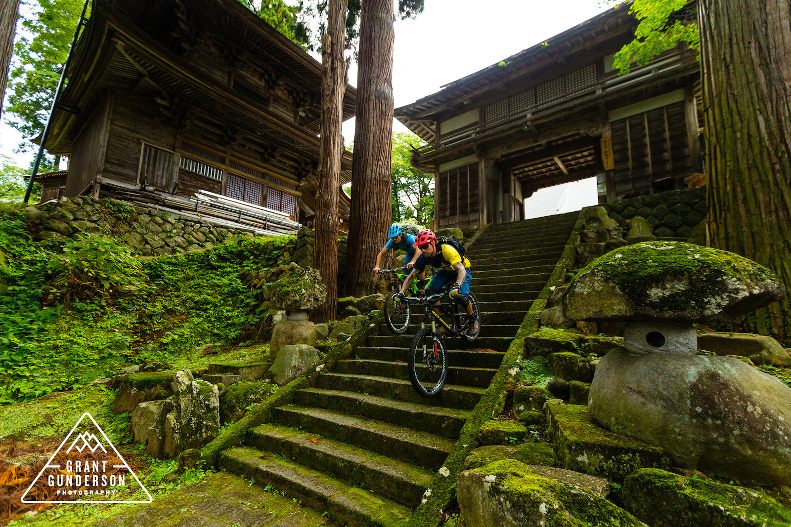KC Deane Geoff Gulevich mountain biking in Nozawa Onsen