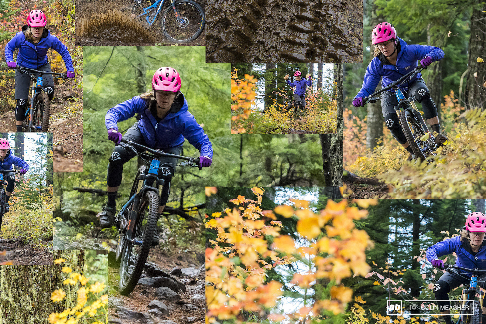 The Raceface Scout Softshell and DIY shorts working to keep Nikki Hollatz warm and dry on a fall mission in Post Canyon.