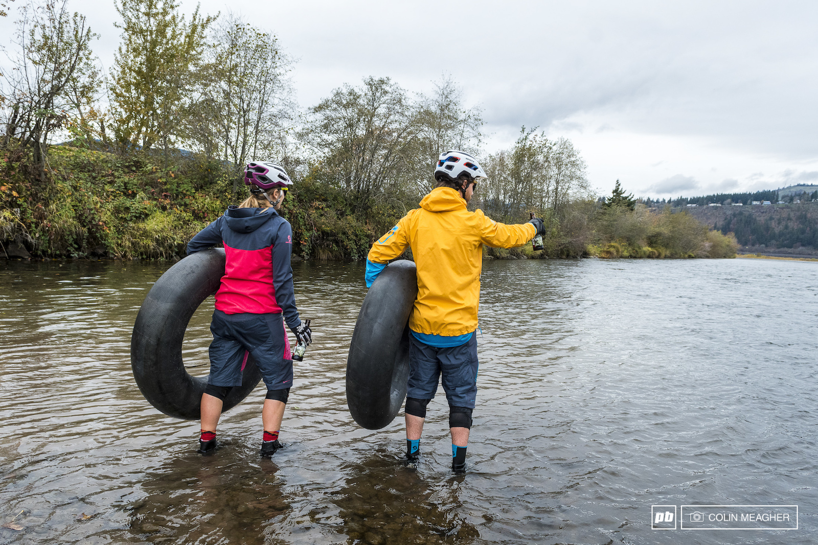 Nikki Hollatz and Justin Fernandes taking a November float in the Hood River