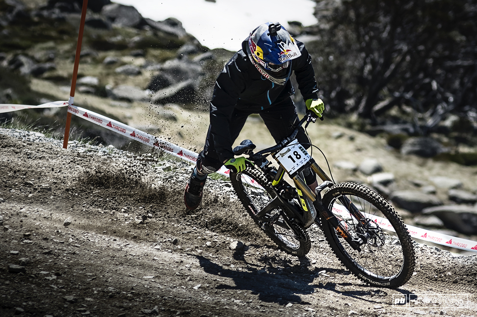 Brook MacDonald enjoyed tearing up the Australian trails. Unfortunately he got a front flat in his race run taking away his chances of a podium whilst visiting.