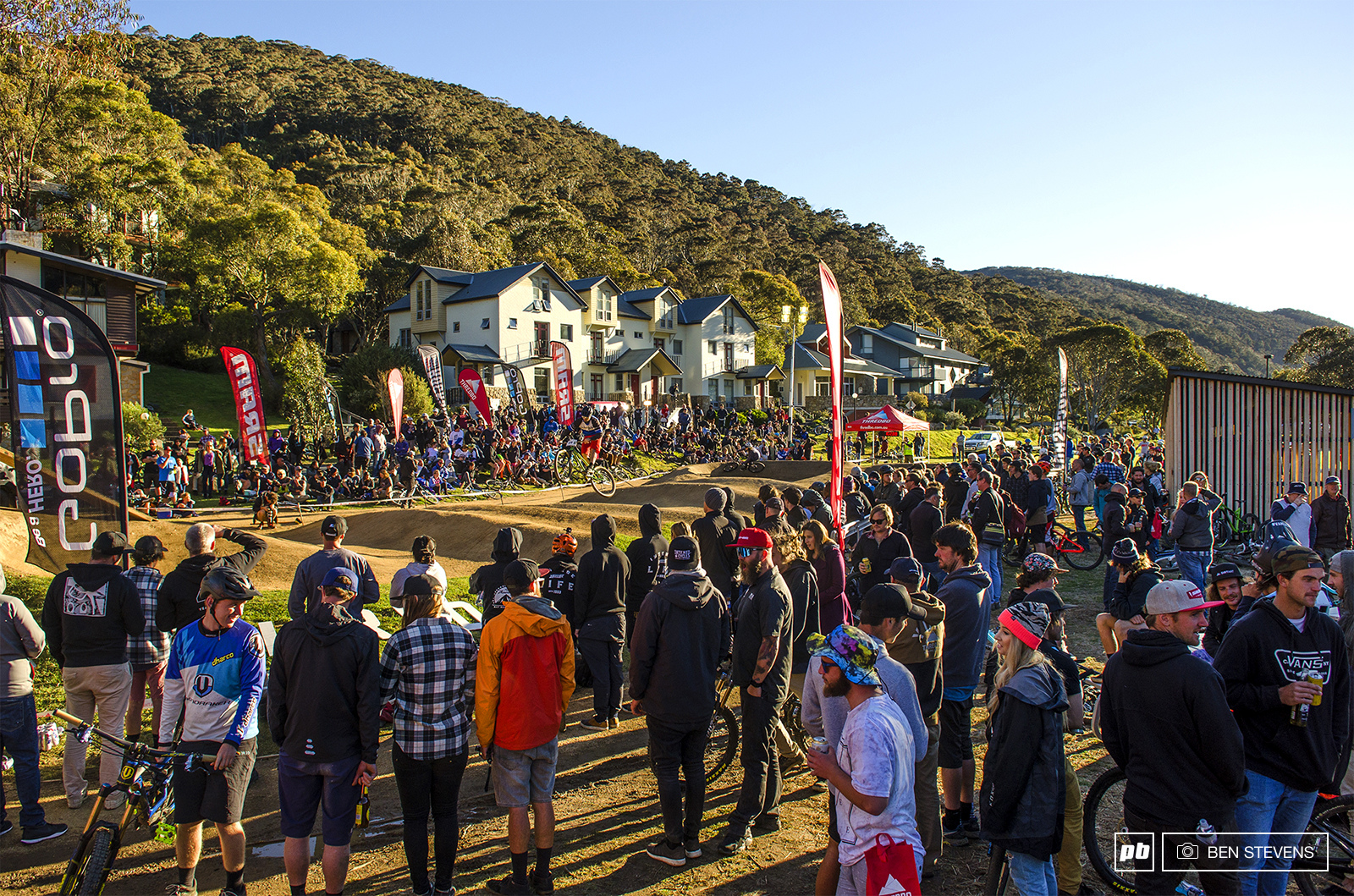 Crowds gather for the Rock Shox Pump Track Challenge