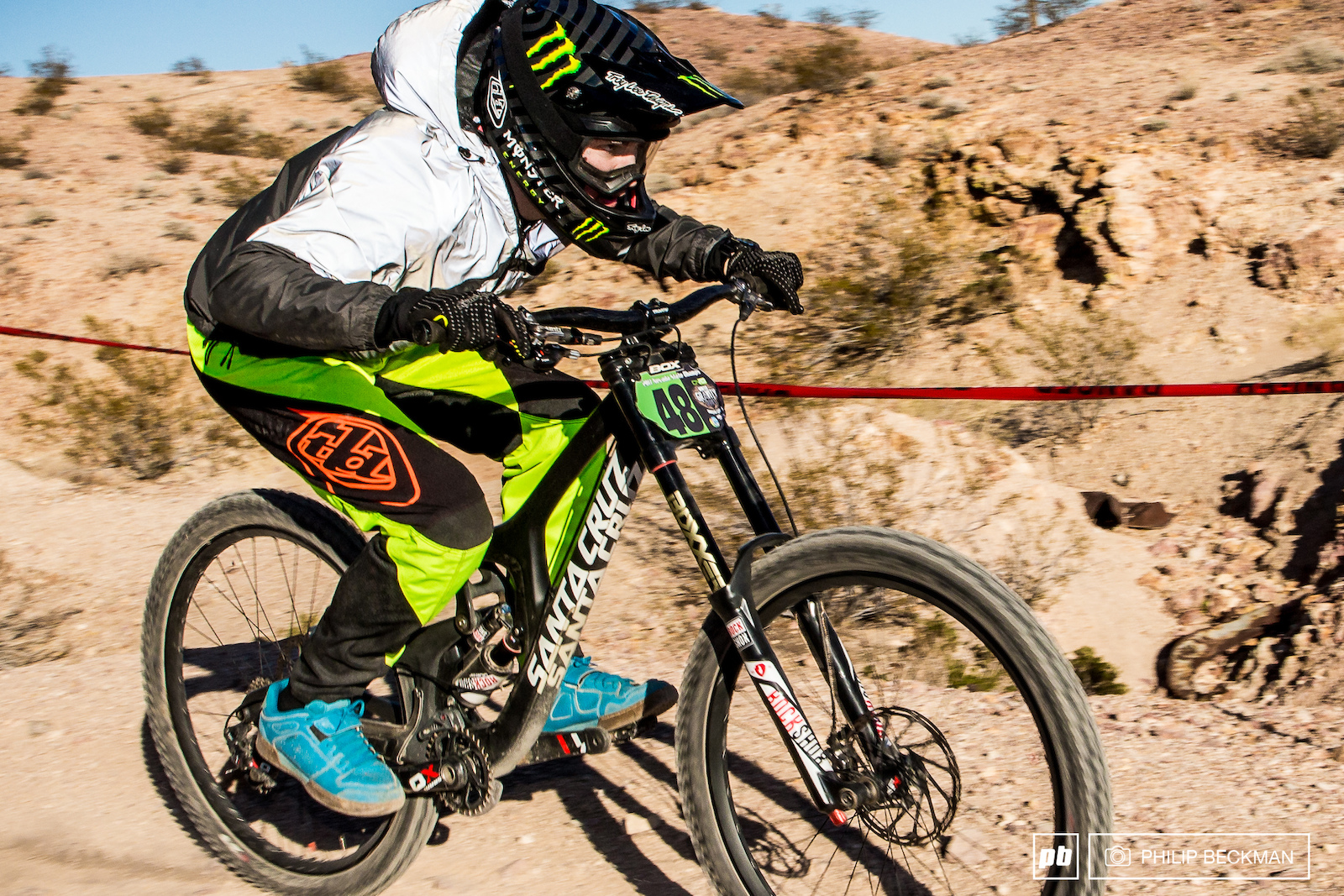 Something s missing in this pic. Mitch Ropelato Monster Santa Cruz SRAM TLD grabbed second place in the Chainless Downhill race.