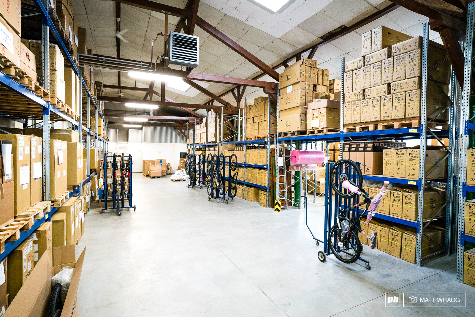 The storeroom. While this may have a lot more stock than your local bike shop it is a much more subdued affair than many of the better-known German bike brands.