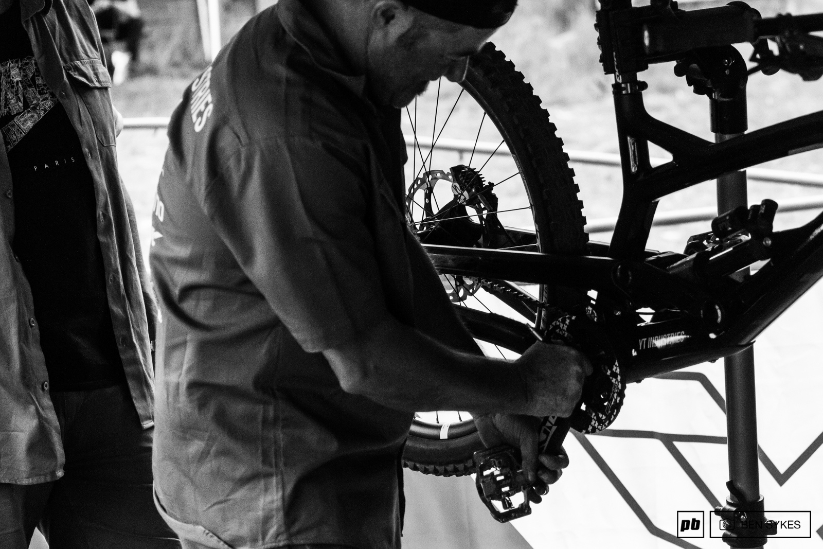 Bill keeping the new YT Racing bikes running smooth and clean.