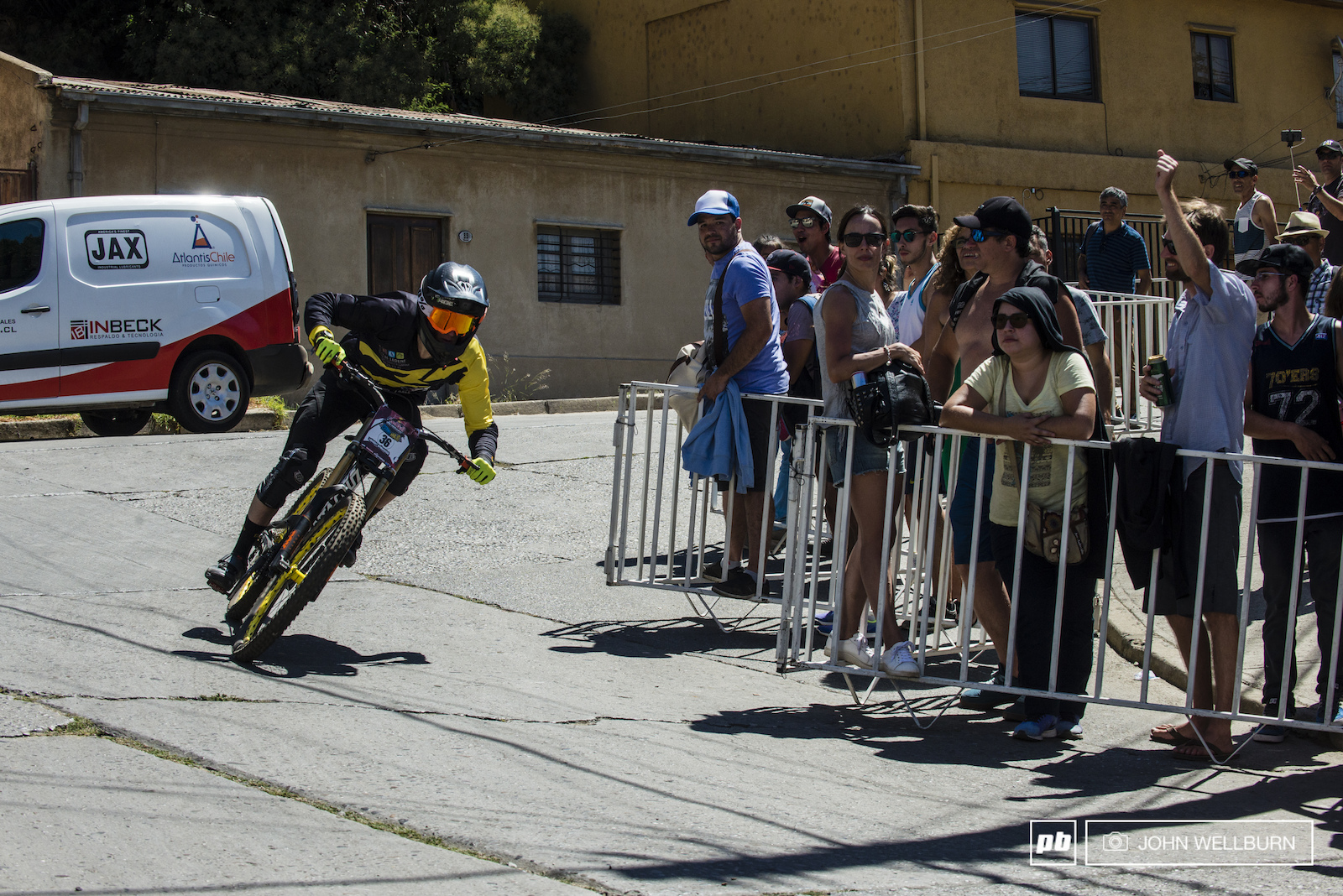 Frenchman Hebert Ambroise keeping his speed around the corner in prep for the giant bus gap.