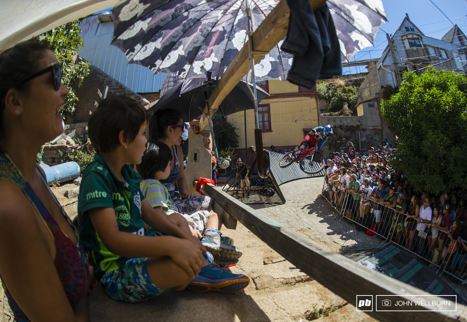 Tomas Slavik sends it over the wall ride gap as the kids look on with awe.