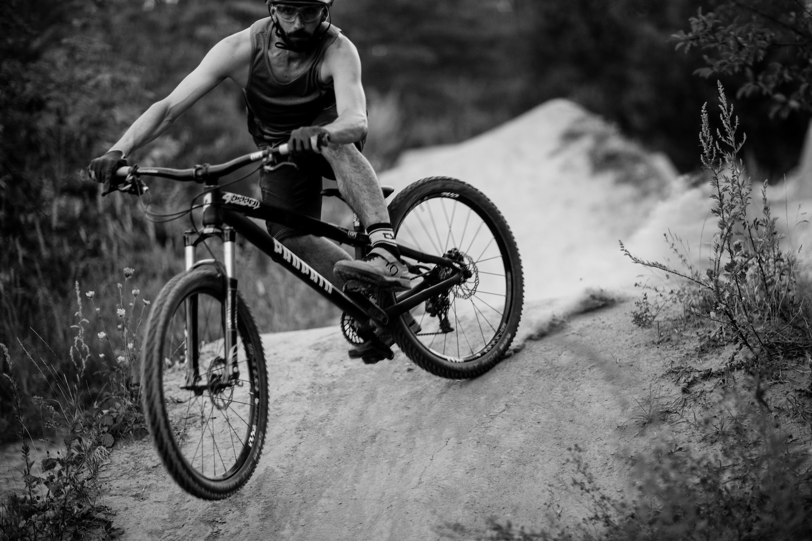 scrub riding technical trails with click pedals ...what a racer.