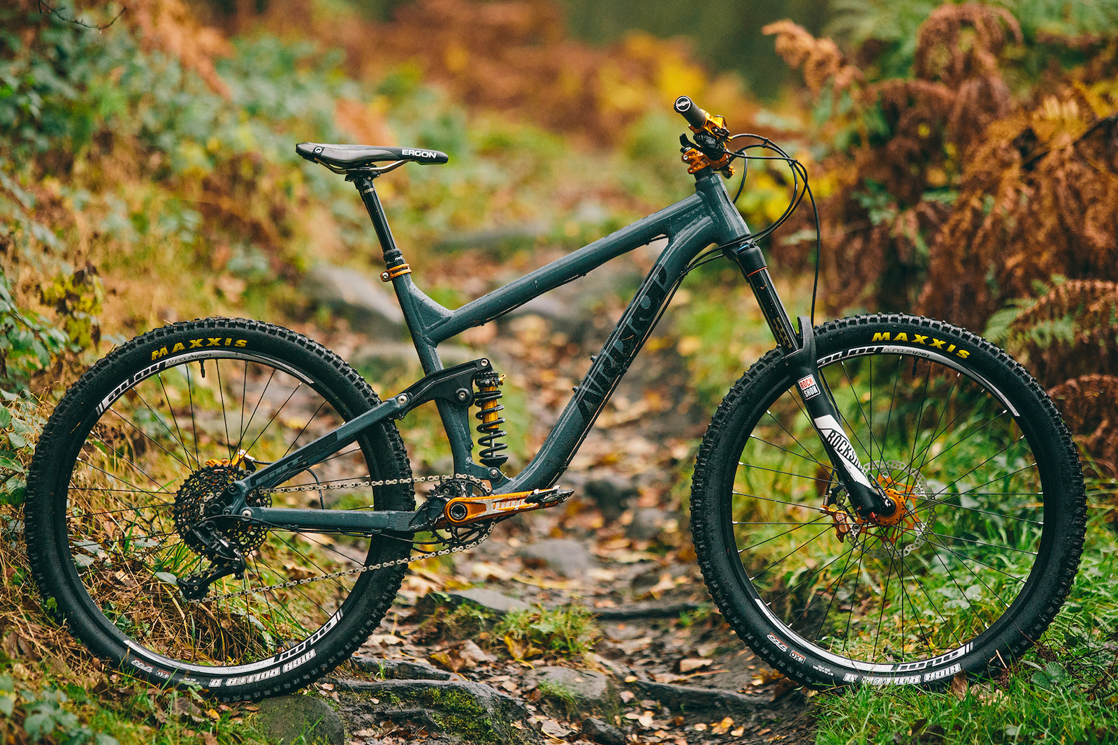 The bike we built for the Golden Hour video. An Airdrop Edit v1 frame in greay with black decals. Cane Creek DBcoil IL shock with Valt spring Hopetech components throughout Rockshox Pike RCT3 forks and SRAM GX 1x11 groupset