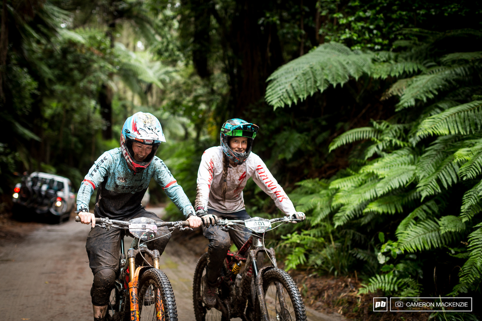 Casey Brown and Miranda Miller weren t loving the loose conditions today but enjoyed racing together and yarning on the ups.