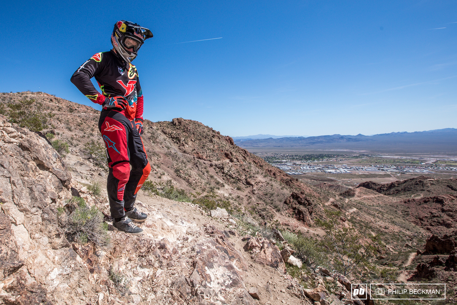 World Cup champ Aaron Gwin YT Industries surveys the top of the trail. Even though he rode his first downhill bike here and has made regular appearances over the years he had not yet ridden this section of Armageddon.