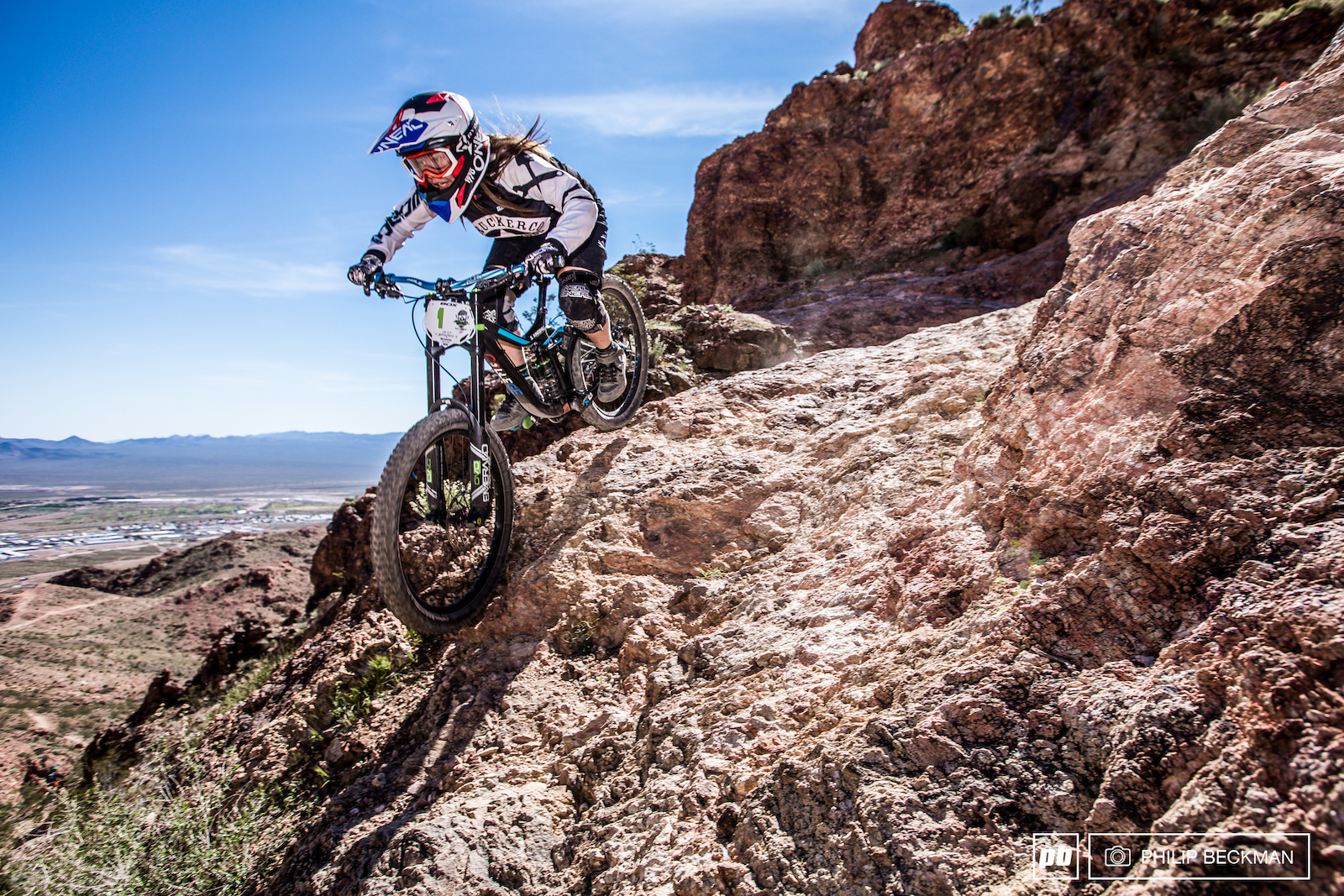 Reigning Pro GRT champion Samantha Kingshill College Cyclery Truckerco Posse warms up on Friday. On Sunday she would capture her third Bootleg victory in three tries during the 2017 DVO Winter Gravity Series.