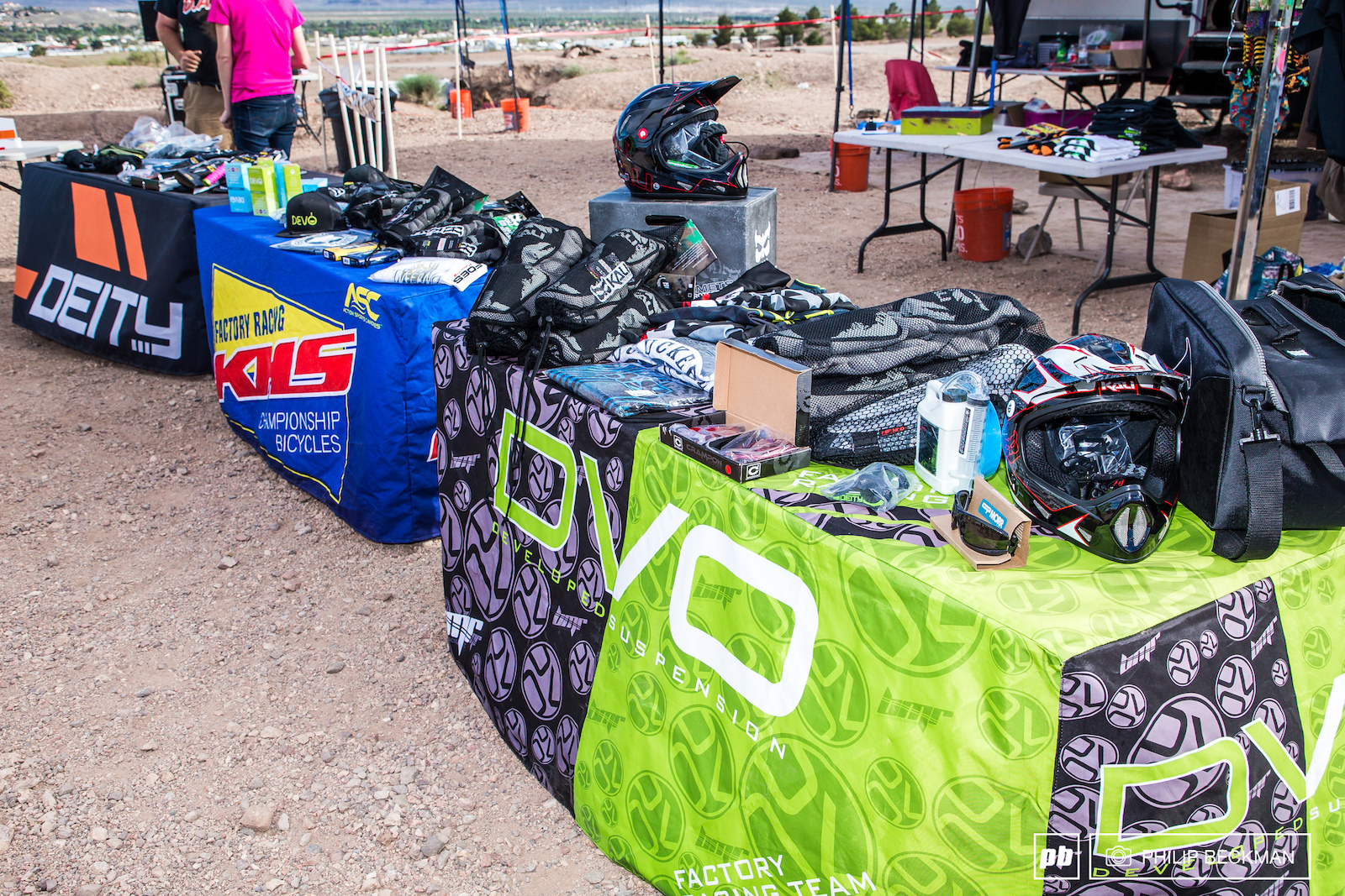 A long list of generous event sponsors fill numerous tables with winners swag.