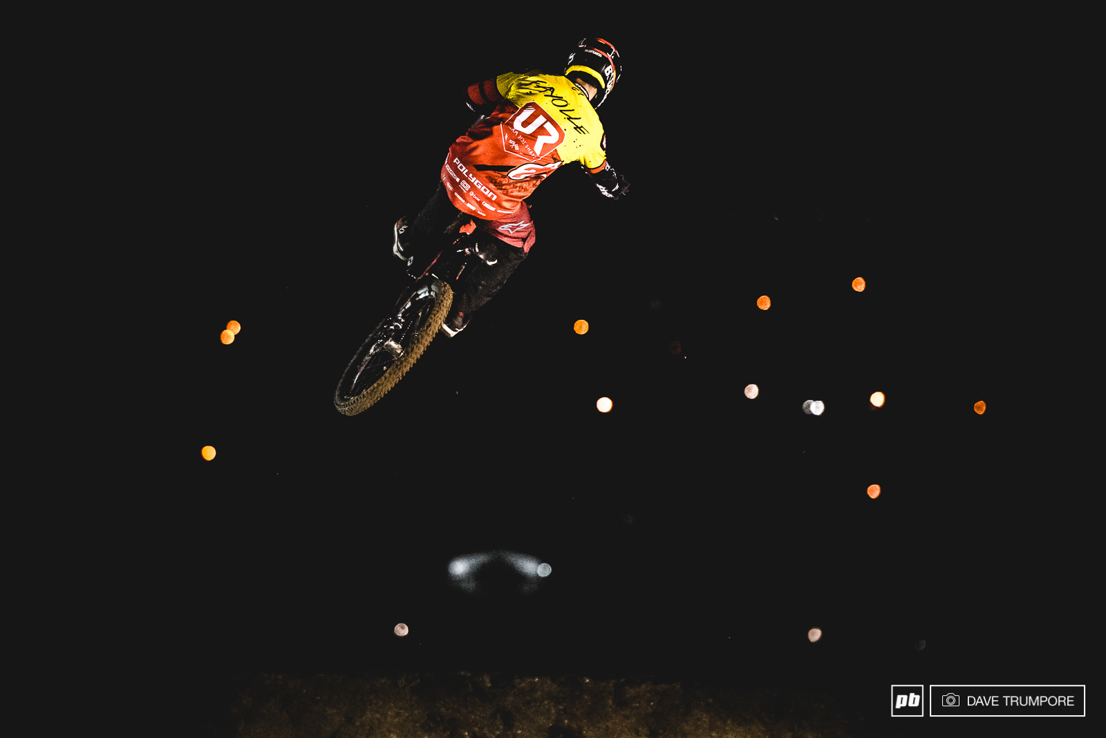 Alex Fayolle floating over the Rotorua city lights.