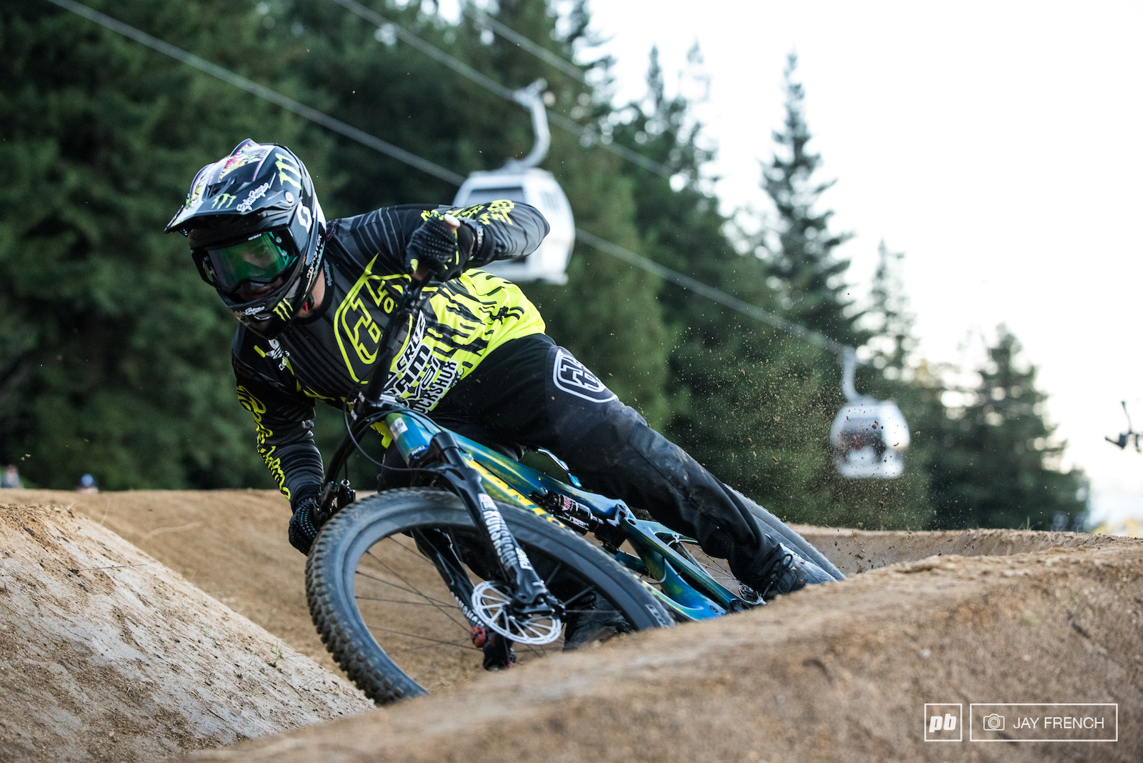 Mitch gets a little roost going in the berms.