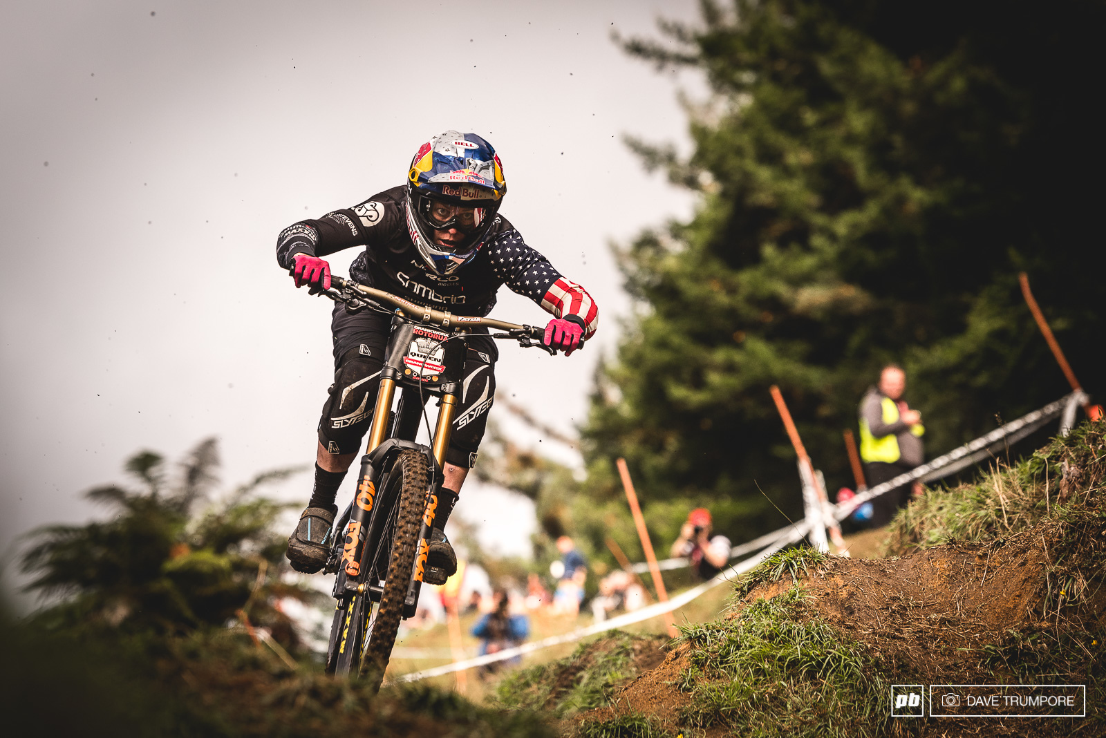 The Queen of Crankworx Jill Kinner dropping into the finish arena.