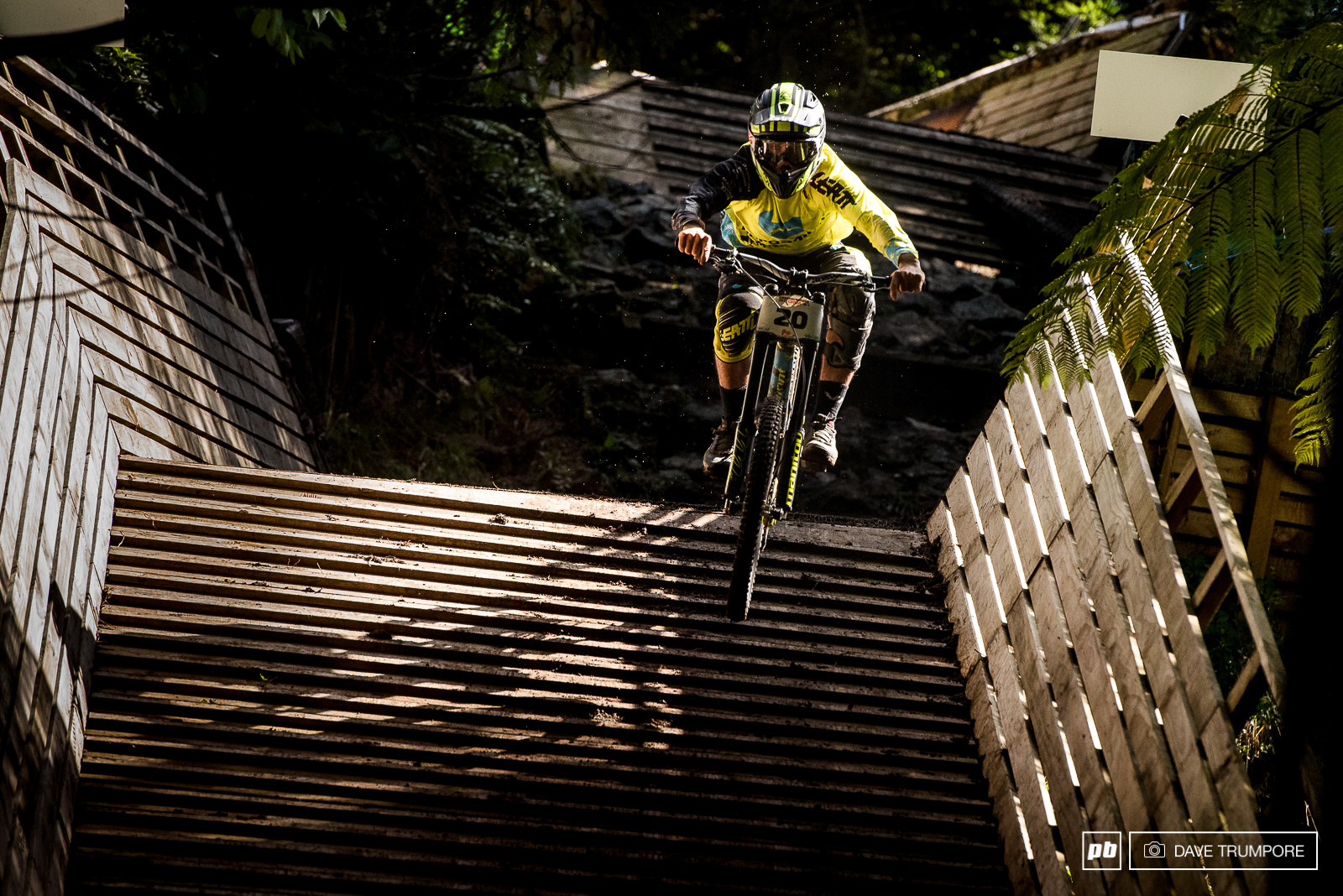 Kiwi hero Eddie Masters blasting through the man made bridge and rock garden section of track.