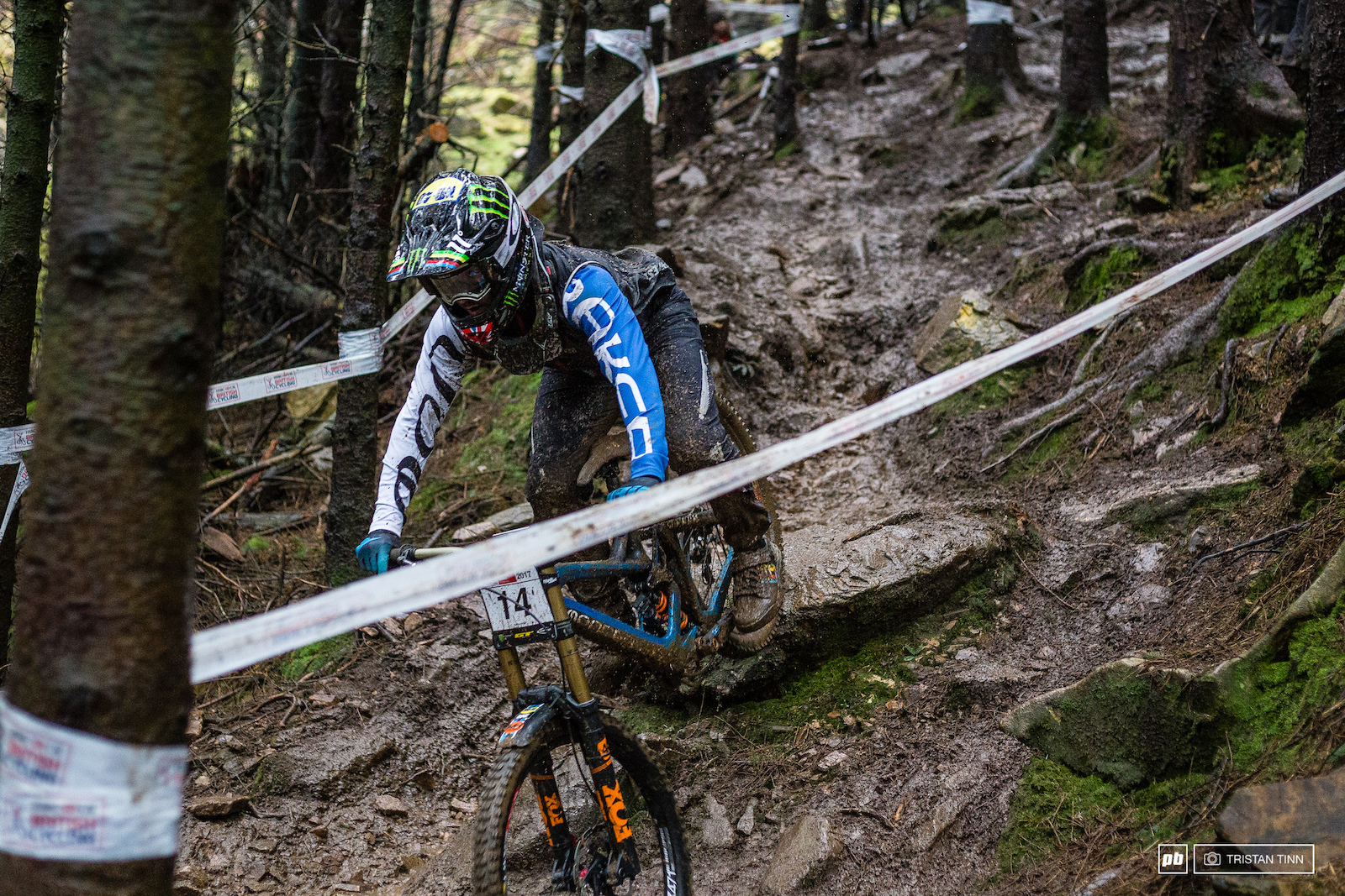 Danny Hart reigning World Champion was no doubt feeling right at home in the steep tight UK mud bath