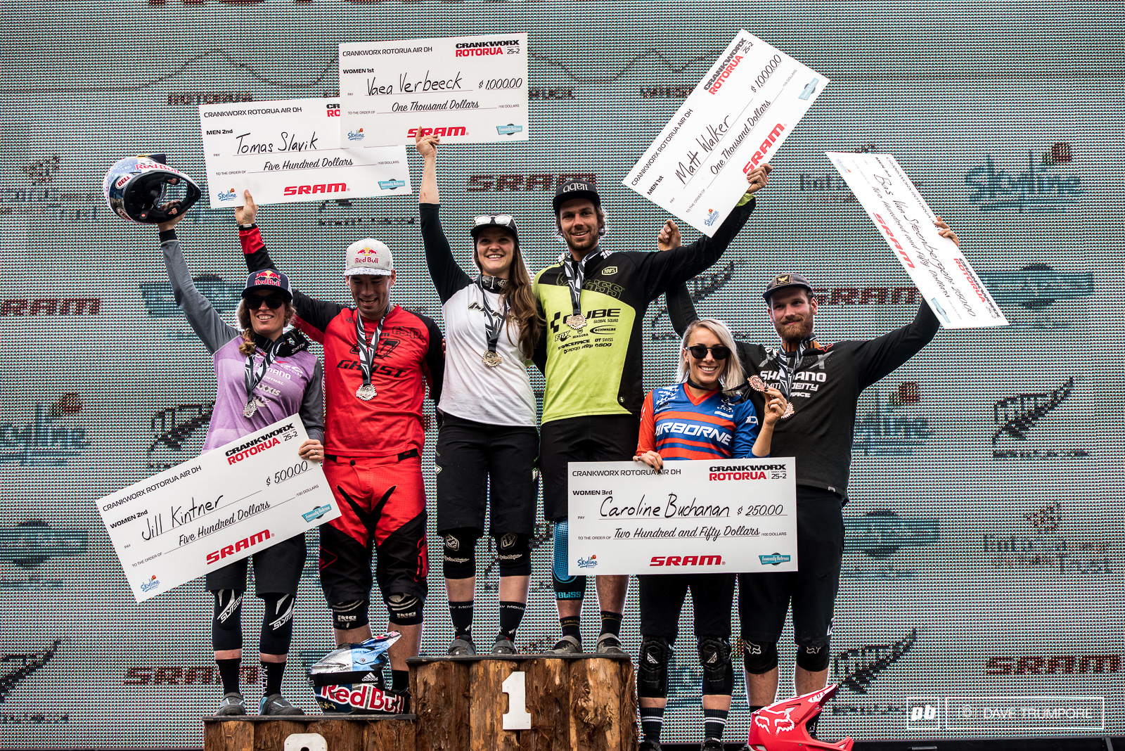The final podium of the 2017 Crankworx Rotorua.