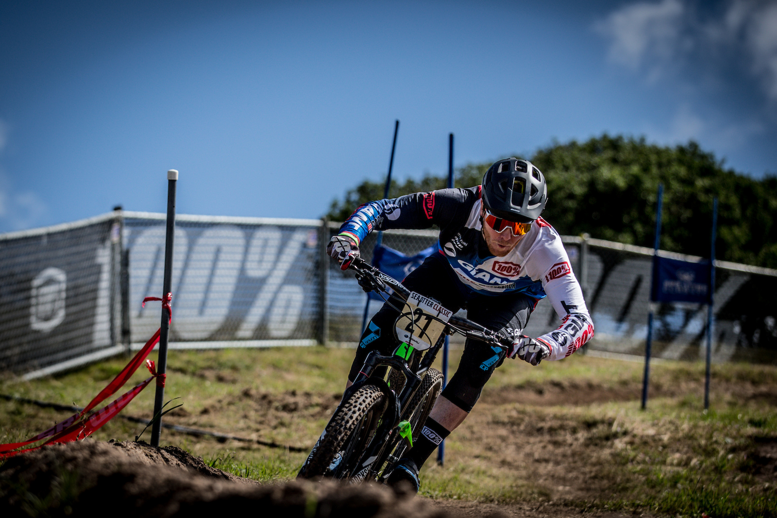 Josh Carlson EWS Factory Giant Racer drops in to a top 10 finish on the day.