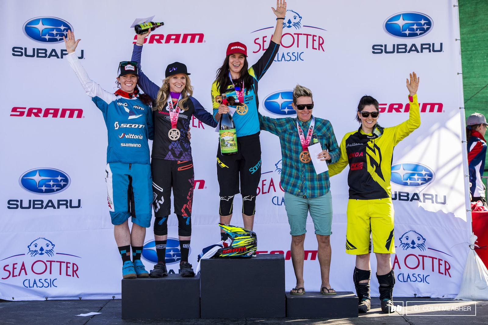 Pro Women s Enduro podium L-R Teal Stetson-Lee 4 Rae Morrison 2 Anneke Beerten 1 Joanna Peterson 3 and Porsha Murdock 5 .