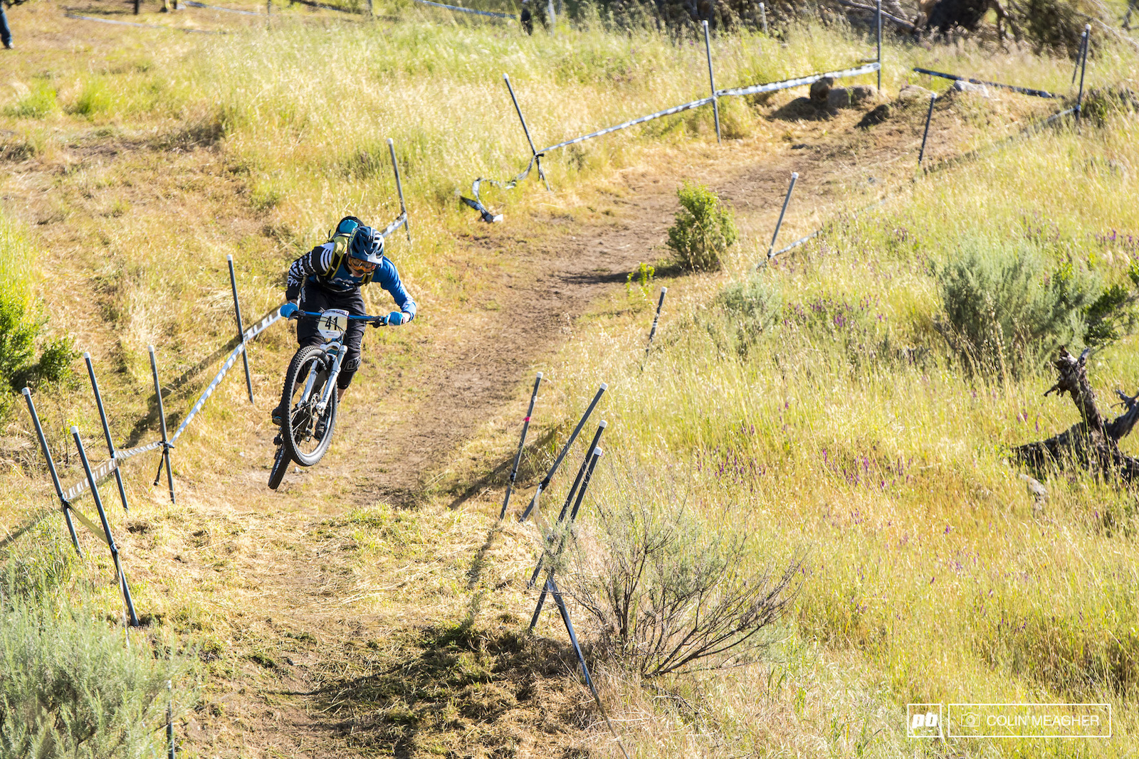 Dan Chiang getting a bit loose on stage one of the Enduro.