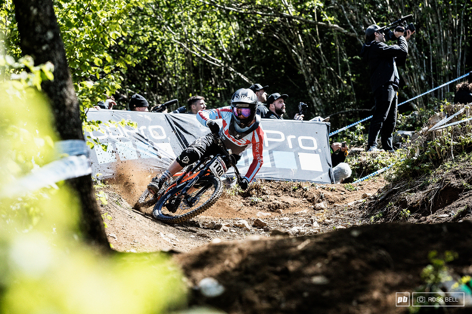 After a wild ride through the wall section riders have a beautiful looking catch berm to scoop them up. Noel Niederberger putting his side knobs to good use.