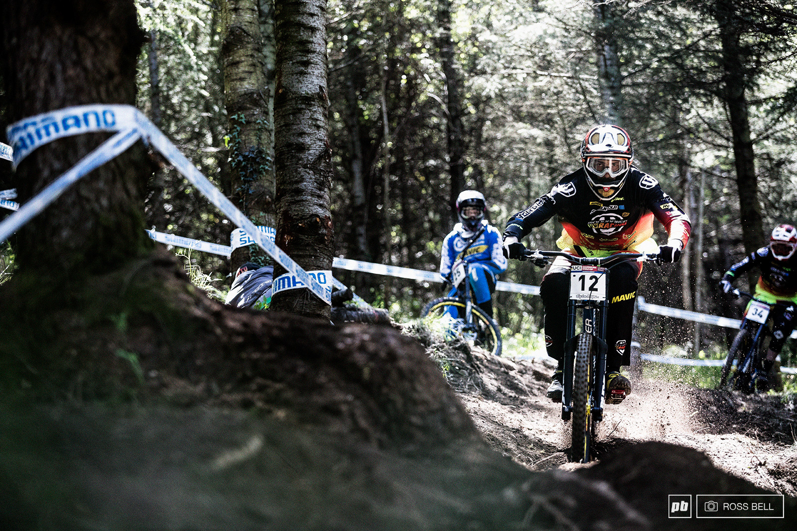 Flo Payet was a man on a mission steering his XXL Mondraker through some outrageous lines on the hillside.