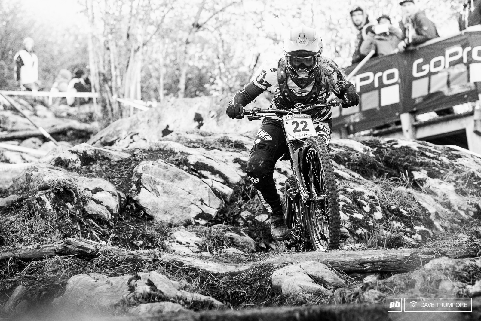 Vaea Verbeek muscles through the big rock garden at the top of the track.