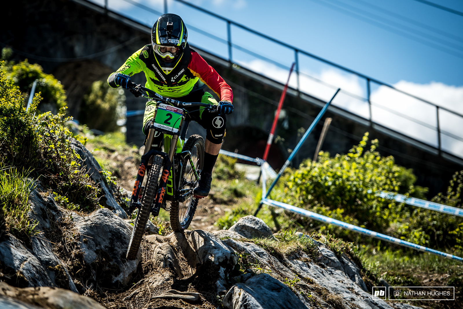 Cube s young gun Harternstern getting amongst it his first time on the Lourdes rock.