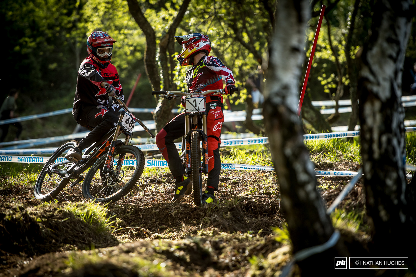 Reunited team mates Mullaly and Gwin talk lines on Aaron s only practice run of the day.