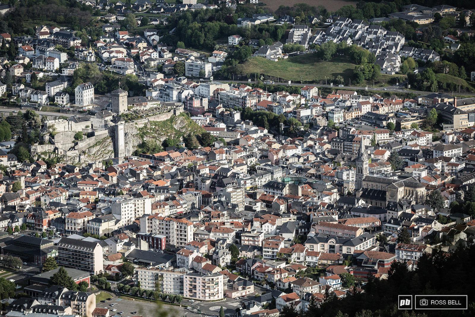 The chateau dominates the Lourdes skyline.