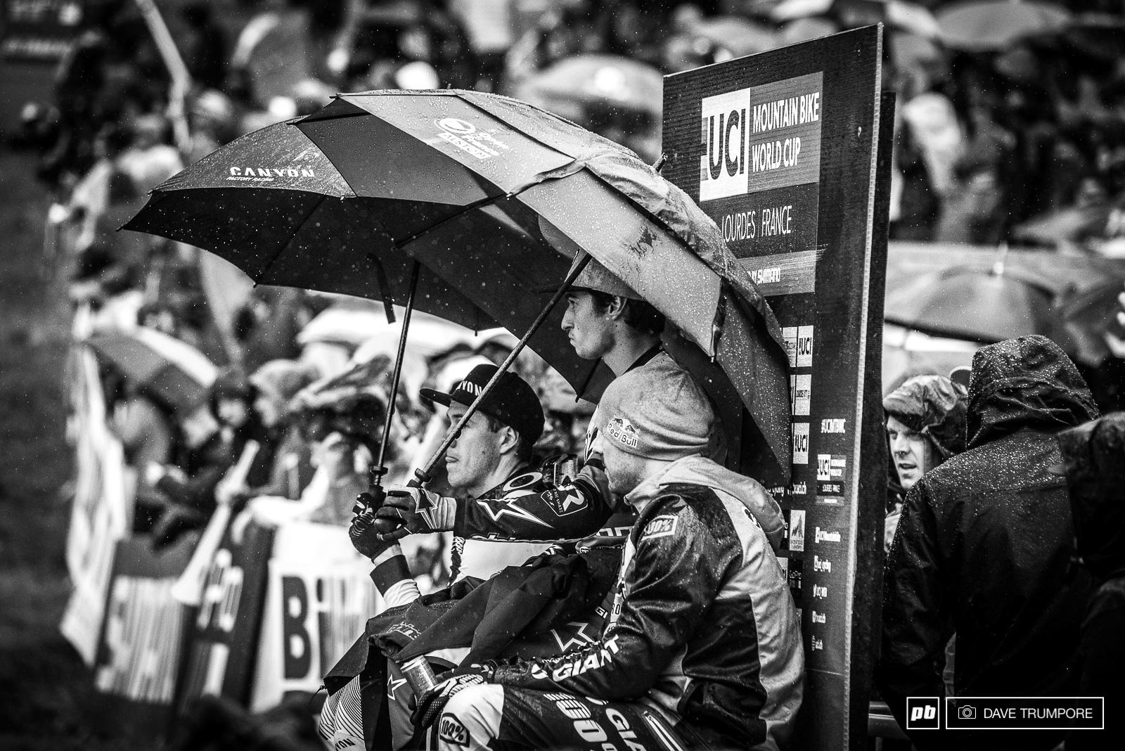 The nervous three riders on the very wet hot seat. Once the rain came down and the wind picked up their fates were sealed.