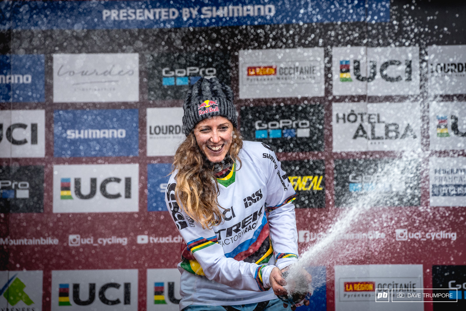 The only rain the women saw today was that of Rachel Atherton s champagne.
