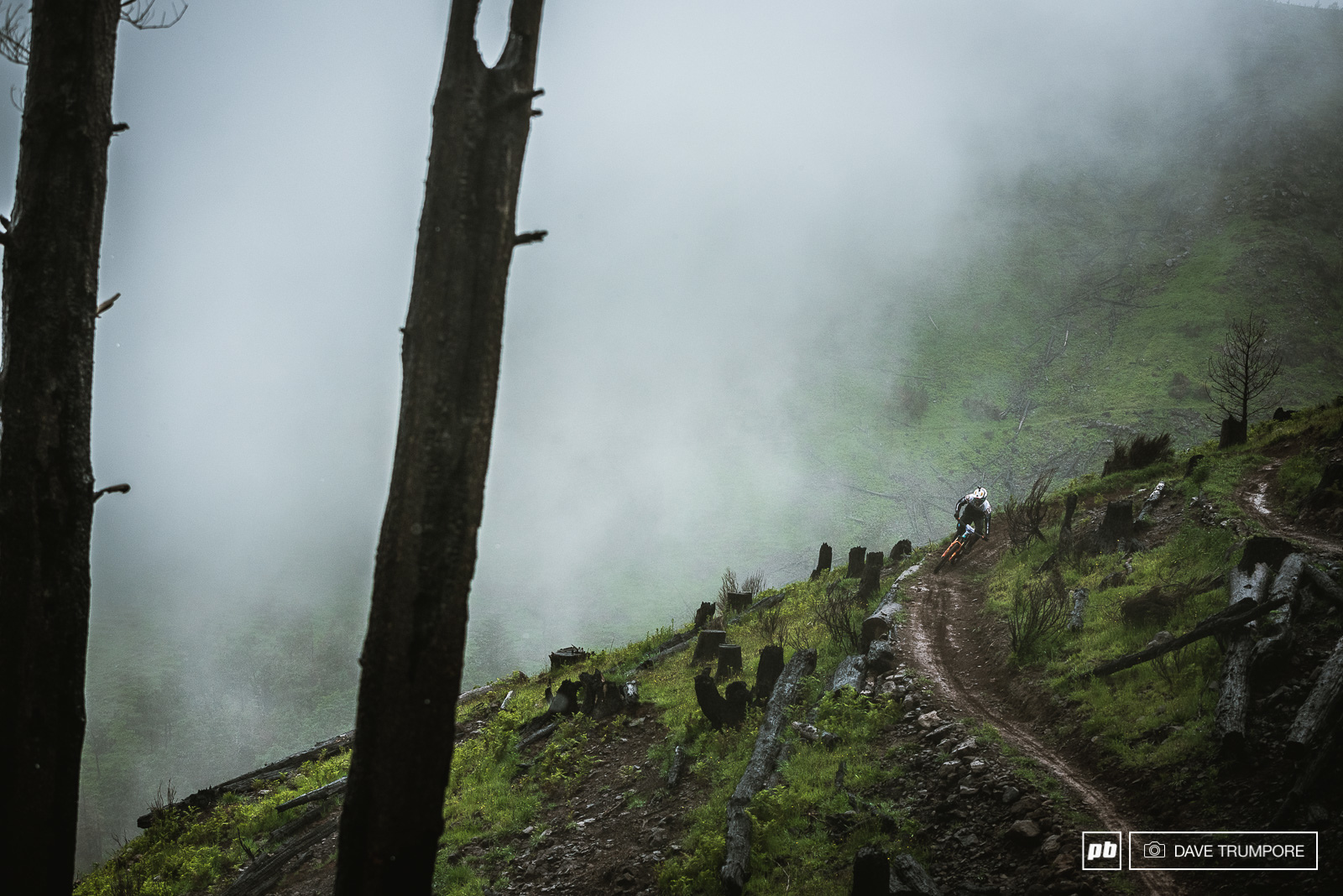 Florian Nicoli slides around in the clay on stage 1 in between monsoons of freezing cold rain.