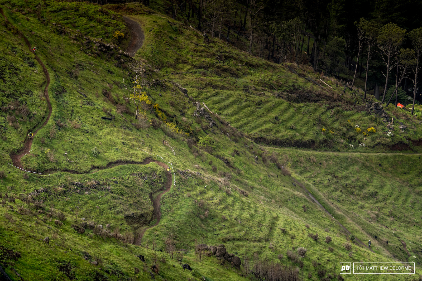 The riders take to practice on some lovely single track.
