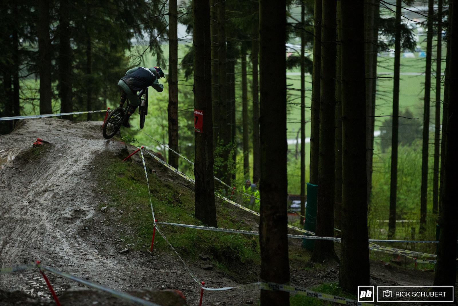 Jasper Jauch hits the corner jump into a steep chute