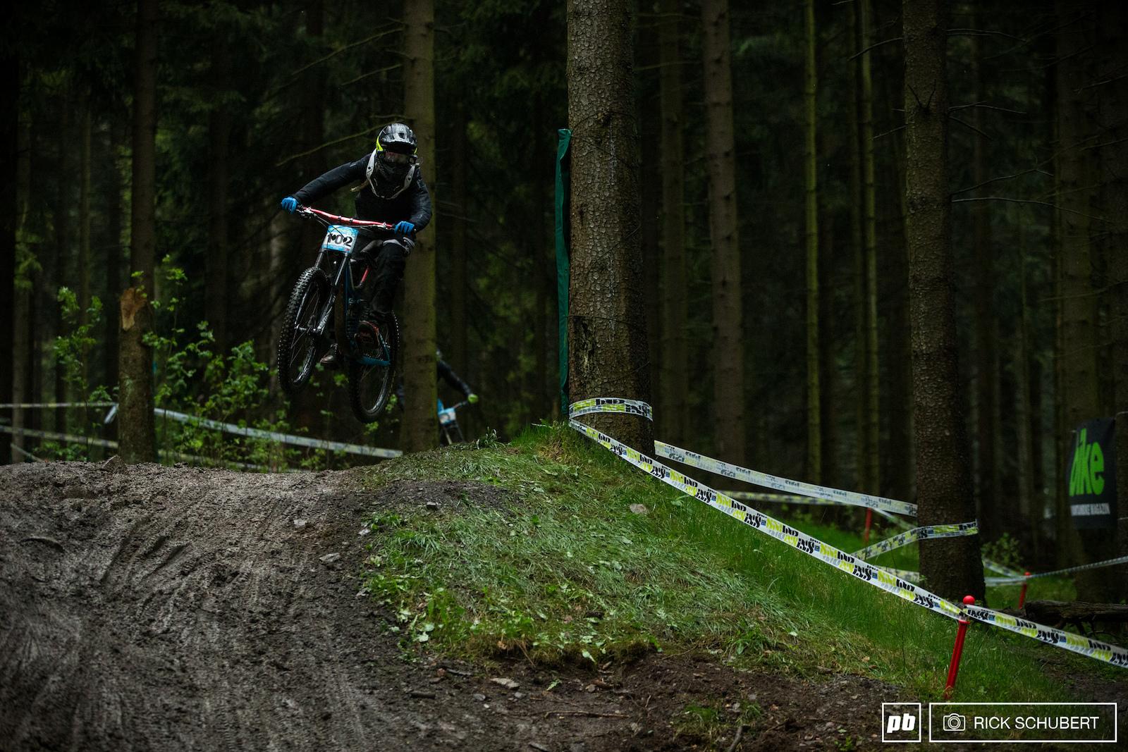 Monika Hrastnik on one of the upper jumps
