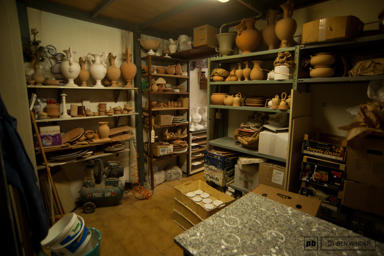 A view of one of the rooms in his workshop.
