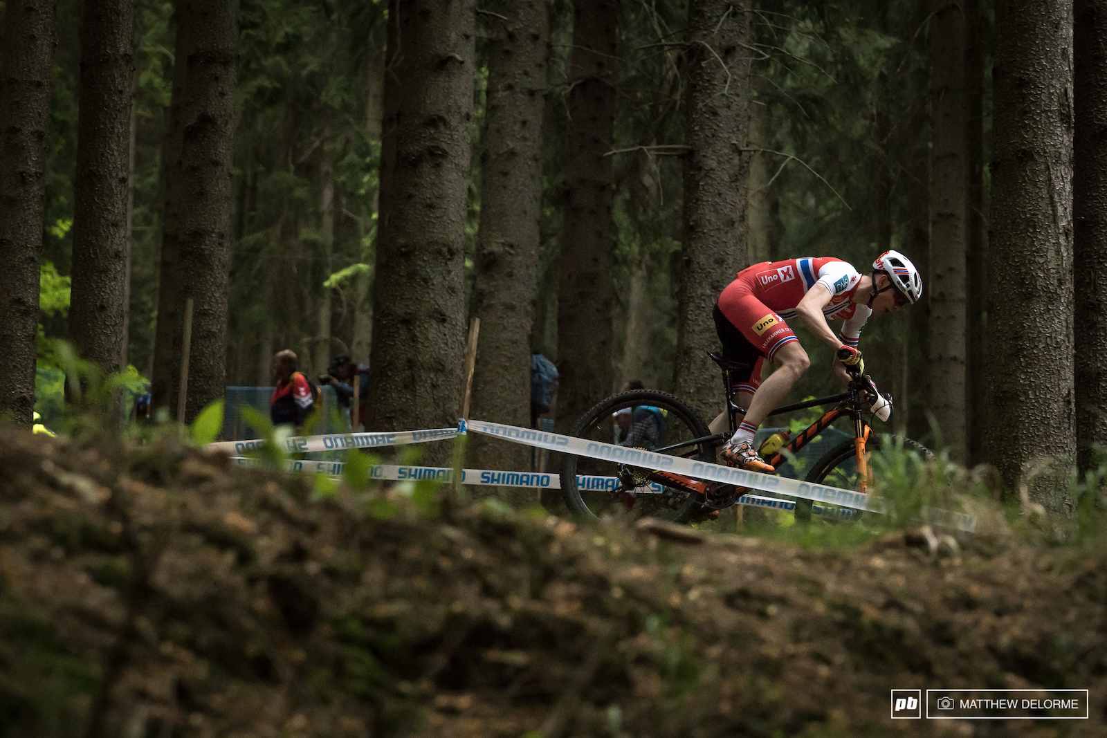 Petter Fagerhaug racing home on the final lap.