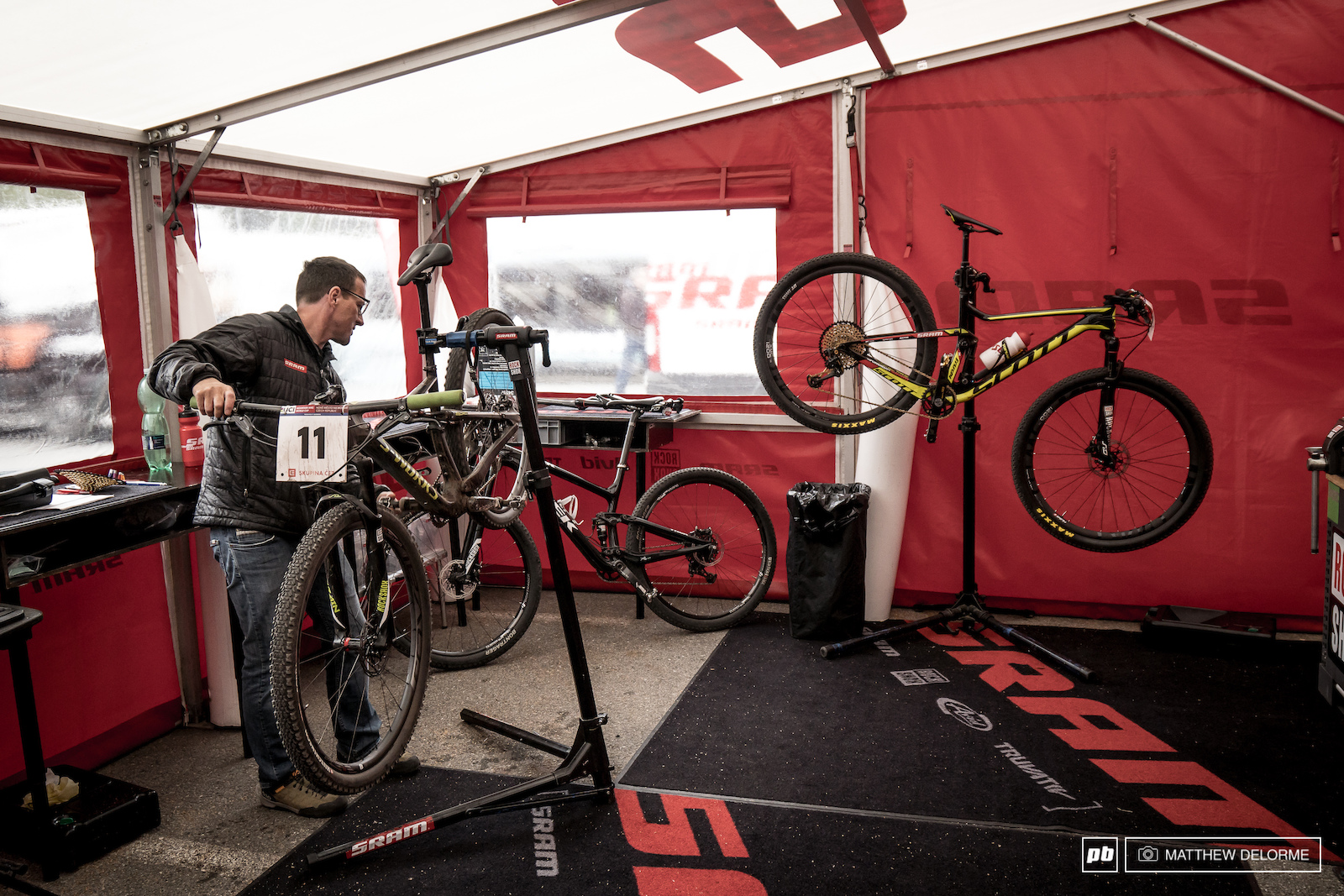 The always busy SRAM techs keeping those big wheels turning.