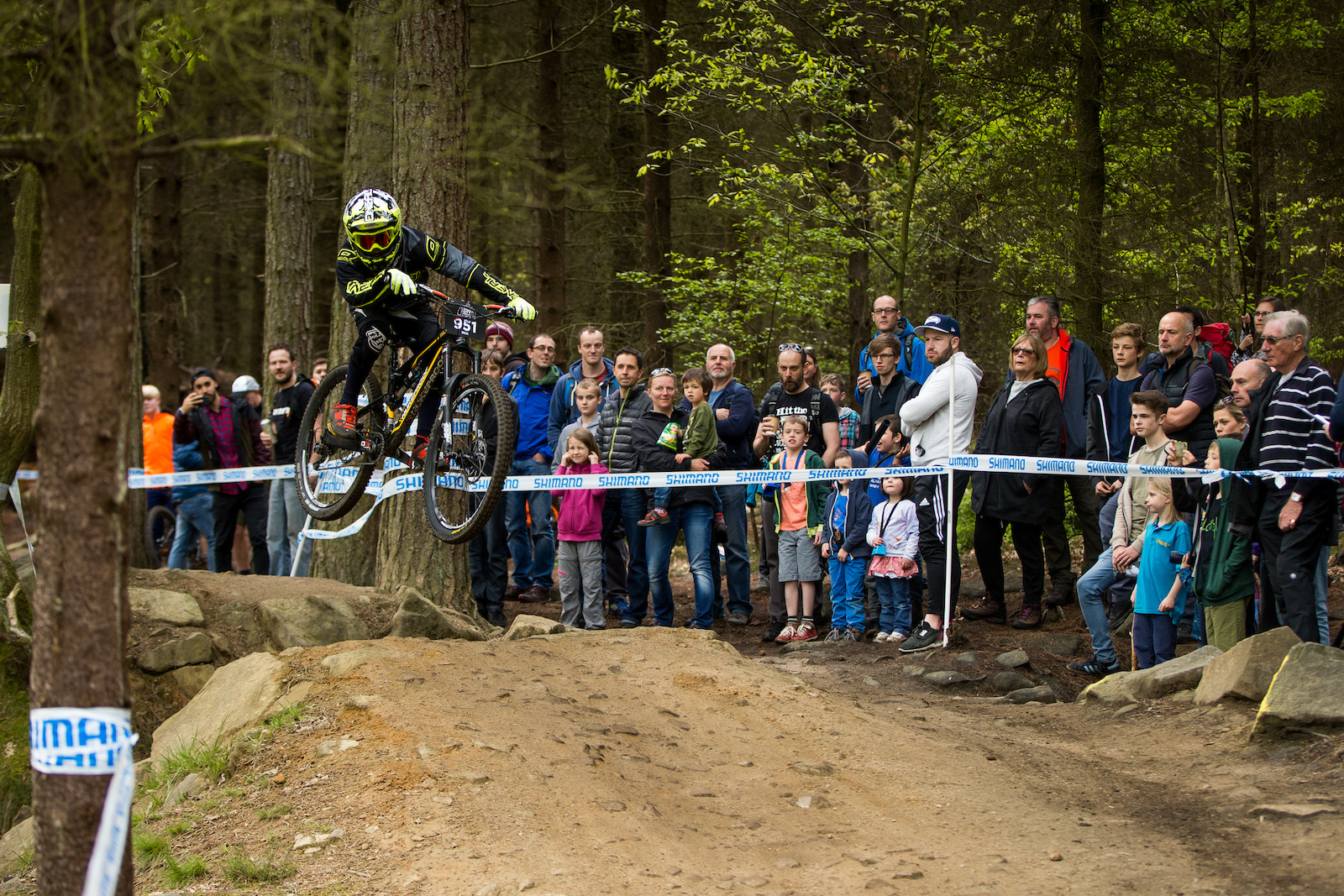 10-12 boys winner Owen Rick showing many of the older racers how the Jolley Gap Jump is done