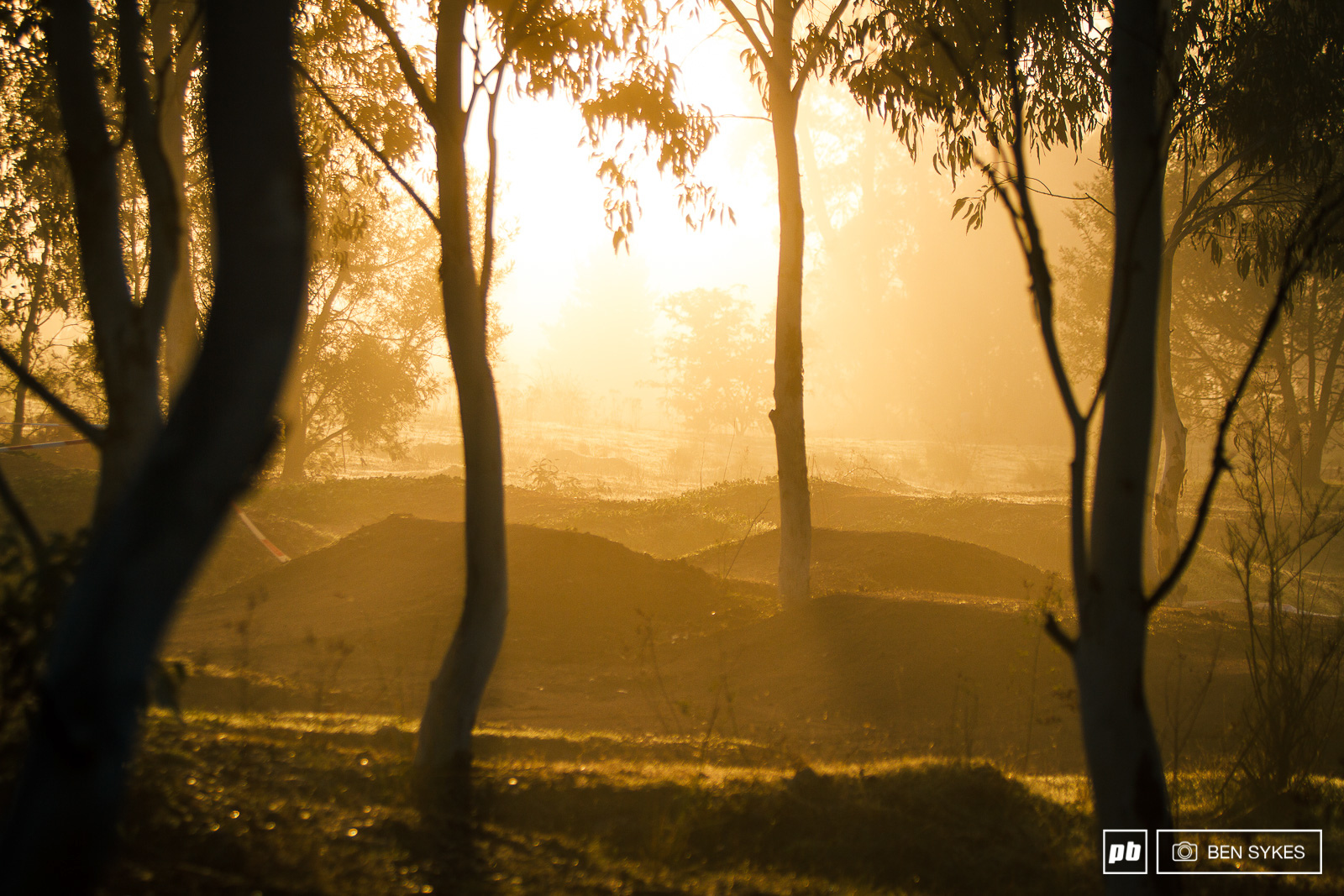 Jumps lie in wait in the early morning mist until Stage 5 later in the day.