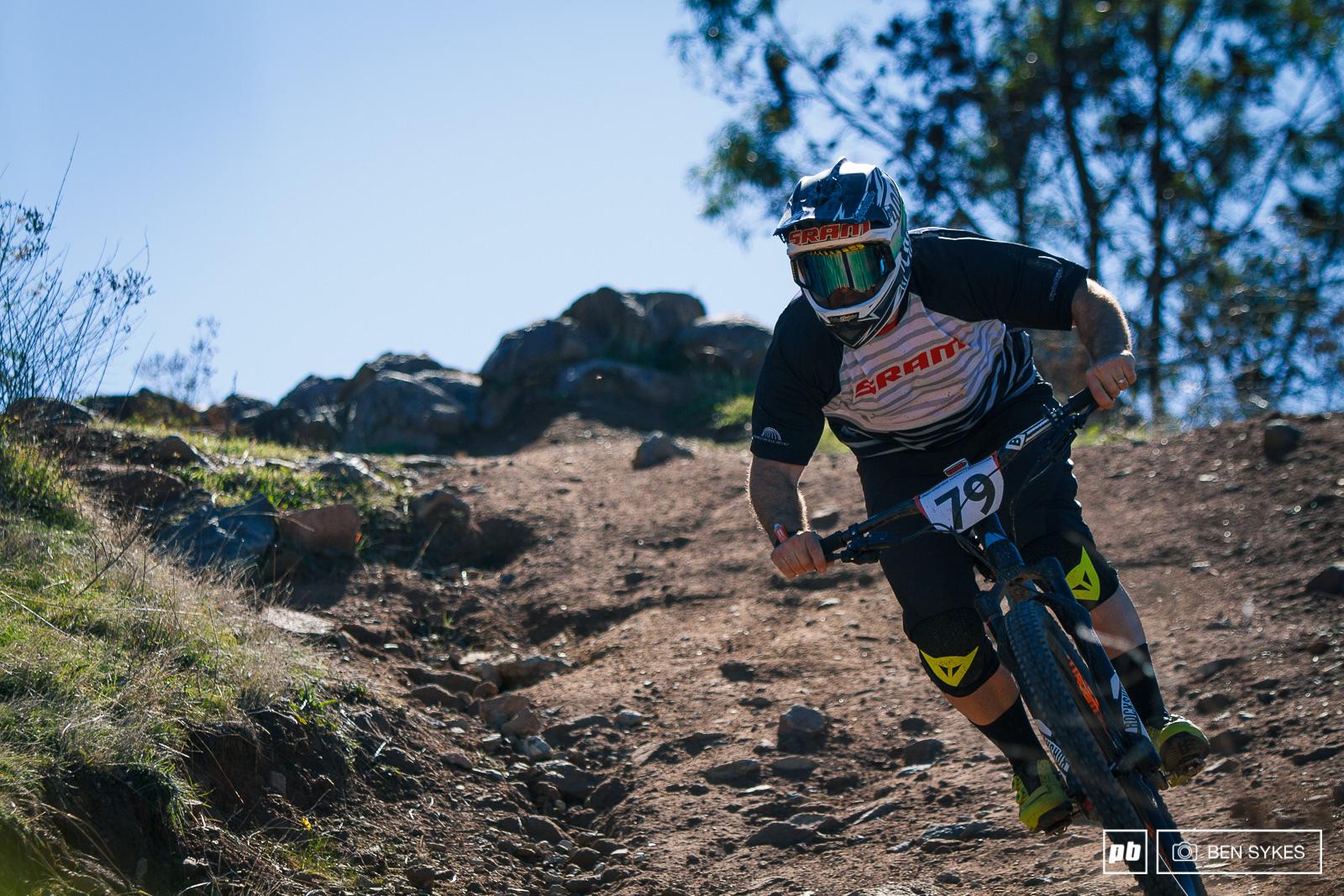 Ben Morrison charging down a typical Stromlo descent